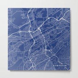 Birmingham Map, USA - Blue Metal Print
