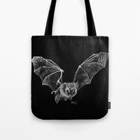 bat Tote Bags featuring Bat by Cortney Palmer Art