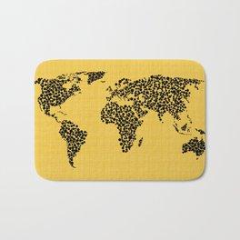 Yellow world map Bath Mat