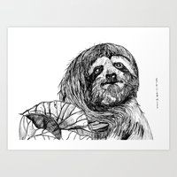 sloth Art Prints featuring sloth by ARI(Sunha Jung)