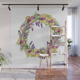 Wreath, Orchid, Clipart, watercolor, handpainted, floral, flower, design, stylish Wall Mural
