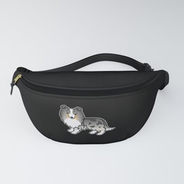 Blue Merle Shetland Sheepdog Dog Cartoon Illustration Fanny Pack
