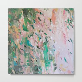 Abstract - emerald green & pink Metal Print