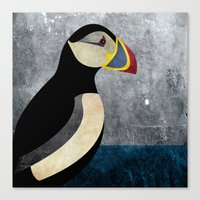 puffin Canvas Prints featuring puffin by John Beswick