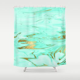 Mint Gilded Marble Shower Curtain