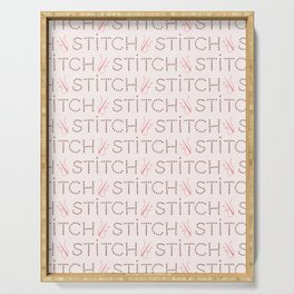 Trendy Hand Craft Stitch lettering seamless pattern Serving Tray