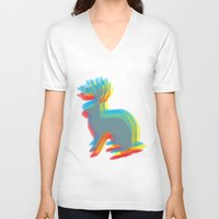 jackalope V-neck T-shirts featuring Jackalope by Glassy