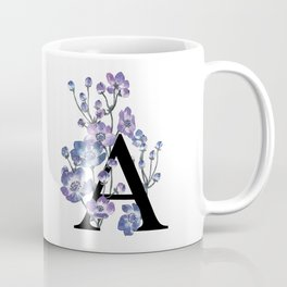 Letter 'A' Anemone Flower Typography Coffee Mug