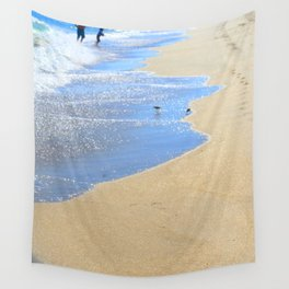 seascape 005: father, son, & 2 sandpipers Wall Tapestry
