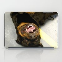 rottweiler iPad Cases featuring Happy Rottweiler by Ann Yoo