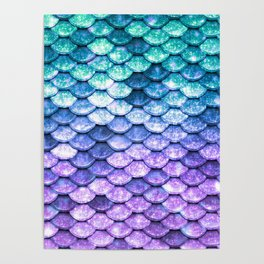Mermaid Ombre Sparkle Teal Blue Purple Poster