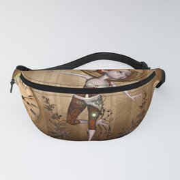 Cute little steampunk girl with clocks and gears Fanny Pack
