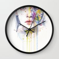bow Wall Clocks featuring miss bow tie by agnes-cecile