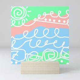 Crashing Waves - White Green Blue Mini Art Print