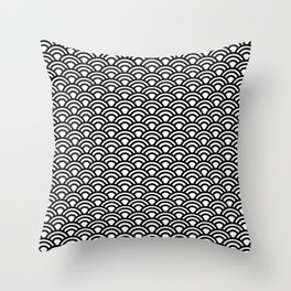 Nippon Wave Japanese Black Seigaiha Throw Pillow