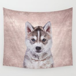 Drawing puppy Husky Wall Tapestry