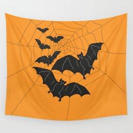 Flying Bats orange Wall Tapestry