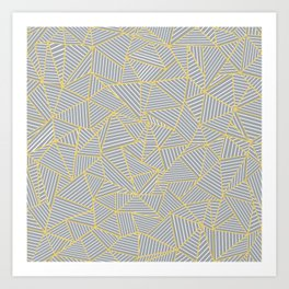 Ab Outline Gold and Grey Art Print