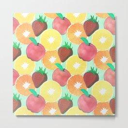 Stylish Colorful Summer Fruits Design Metal Print