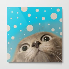 """Fun Kitty and Polka dots"" Metal Print"