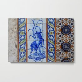 Goat Vintage Mosaic Tiles Metal Print