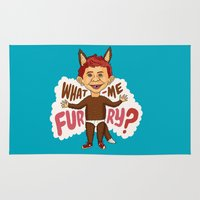 furry Area & Throw Rugs featuring What—me furry? by Chris Piascik