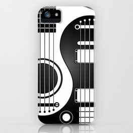 White and Black Acoustic Electric Yin Yang Guitars iPhone Case