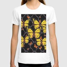 YELLOW MONARCH BUTTERFLIES DECO ART T-shirt