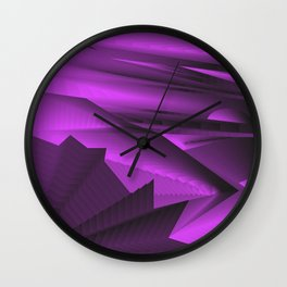 Strange gentle landscap with stylised mountains, sea and violet Sun. Wall Clock