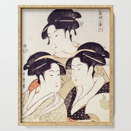 Three Beauties of the Present Day Geisha Print Serving Tray