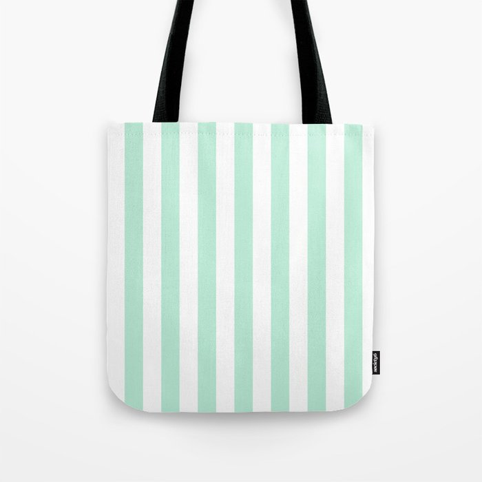 Mint green and White stripes-vertical Tote Bag