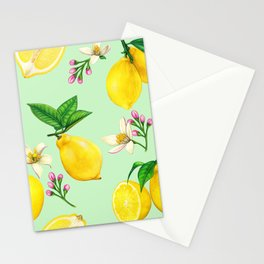 Lemon Summer Pattern Stationery Cards