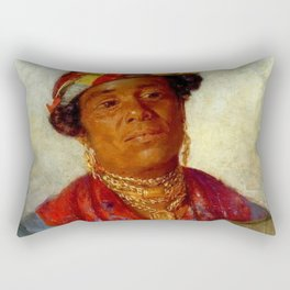 African American Masterpiece 'Woman with Gold Necklaces' by Helen Watson Phelps Rectangular Pillow