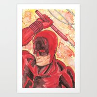 daredevil Art Prints featuring Daredevil by Kirsten L George