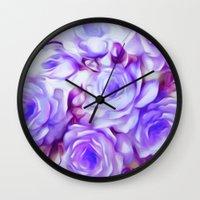 shabby chic Wall Clocks featuring Shabby Chic Purple by Jacqueline Maldonado