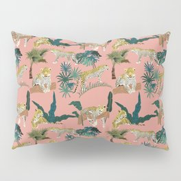 Leopards and Tropical Plants- Cream Pillow Sham