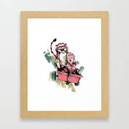 Calvin And Hobbes Fast Framed Art Print