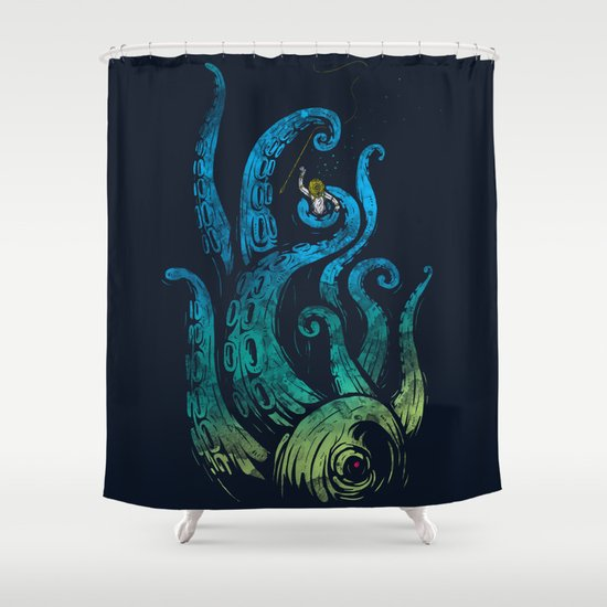 Undersea attack (neon ver.) Shower Curtain