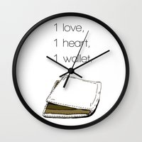 wallet Wall Clocks featuring 1 love by Neil Marmolejos