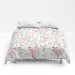 Elegant blush pink white vintage rose floral Comforters