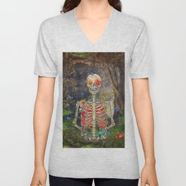 Blooming skeleton in the dark forest  with butterflies Unisex V-Neck