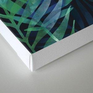 Dark green palms leaves pattern Canvas Print