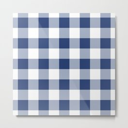 Navy Gingham Pattern Metal Print
