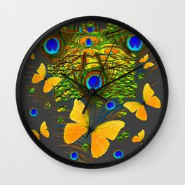 GREEN PEACOCK FEATHERS YELLOW BUTTERFLIES Wall Clock