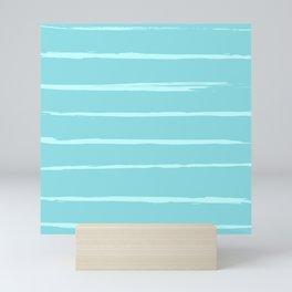 Horizontal brush stroke lines - light blue Mini Art Print