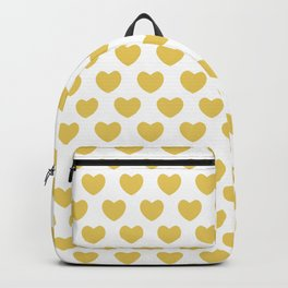Gold Hearts on White Backpack