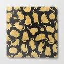 Gold on Black Kitty Pattern by naturemagick