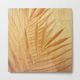 palm leaves sun yellow aesthetic botanical art altered photography Metal Print