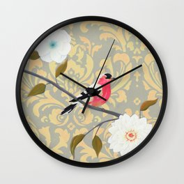 Bird - Song of the Finch Coral  Wall Clock