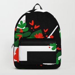 X - Monogram Black and White with Red Flowers Backpack